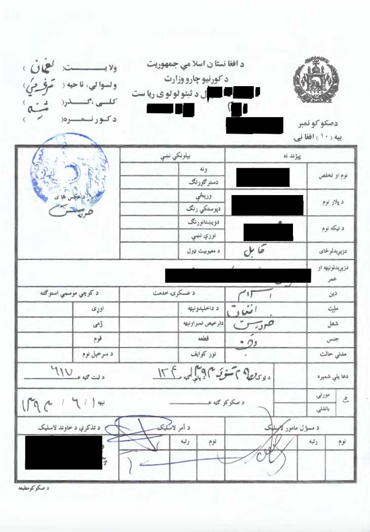 Translation of Tazkira, also known as the Afghan Identity Card